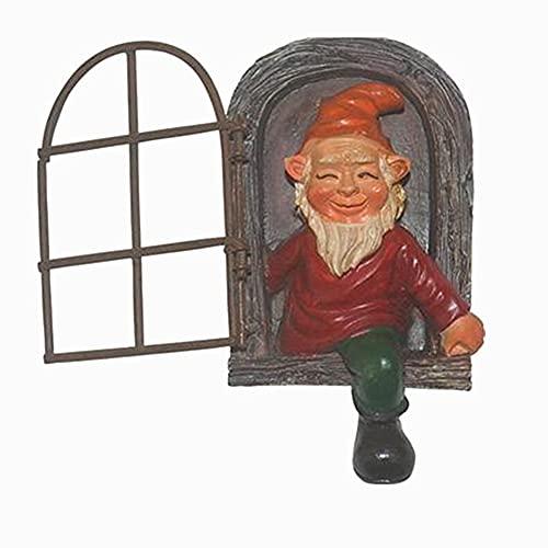 Statua di gnomo nano da giardino, ornamentali, in resina, per fumo, per porta, albero e Hugger, divertente statuetta per decorazione da esterni (finestra nana, rosso)