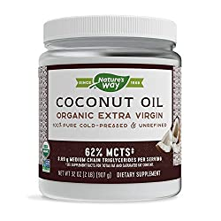 powerful Nature's Way Organic Coconut Oil, Pure and Unrefined, Cold Press, USDA Organic, …