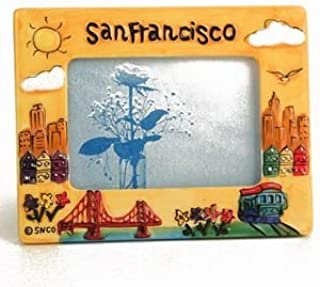 (41 7/18) CM San Francisco Picture Frame Hand Painted Yellow Puff Frame 3 x 5 opening 7.5 x 5.5 Overall With Copyrighted CA Bear Magnet