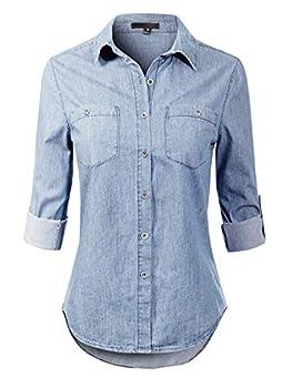 Design by Olivia Women s Basic Classic Roll up Sleeve Button Down Chambray Denim Shirt Light Denim M