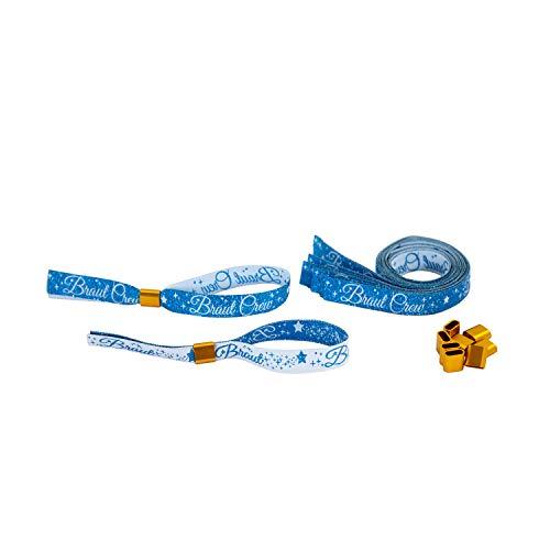 Oblique Unique® JGA Armbänder Set 1x Braut - 9X Braut Crew mit Glitzereffekt für Junggesellinnenabschied Hen Party Hochzeit Armband Mitgebsel Einheitsgröße Blau Weiß