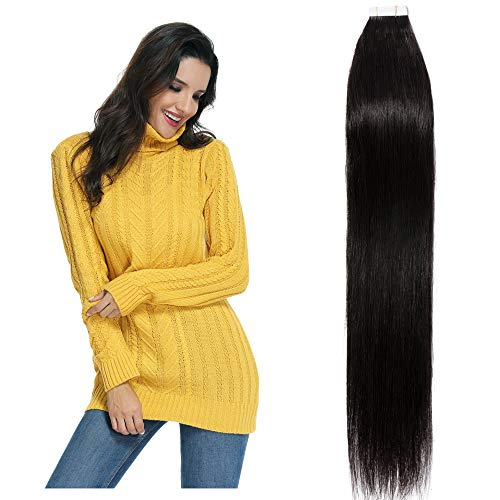 "20 Pcs Extension Adhesive Naturel Rajout Vrai Cheveux Humain Bande Adhesive Lisse (#1B Noir naturel, 16""(40cm))"