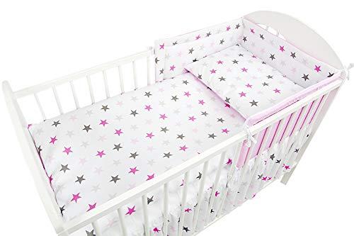 Chichonera para cuna de bebé de 6 partes, acolchado grueso parachoques, sábana, edredón y almohada diseño 19 Talla:Fits Cot 120x60 cm