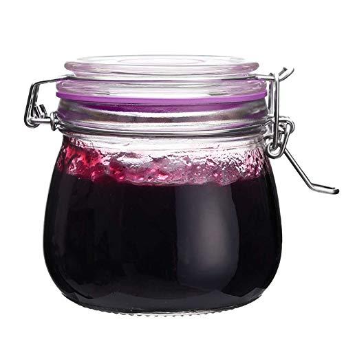 The Happy Jar Wish Jar – Tarro de cristal con tapa de clip de 500 ml y tarros de vidrio herméticos para especias, azúcar, café, especias, avena, comida para mascotas (morado)