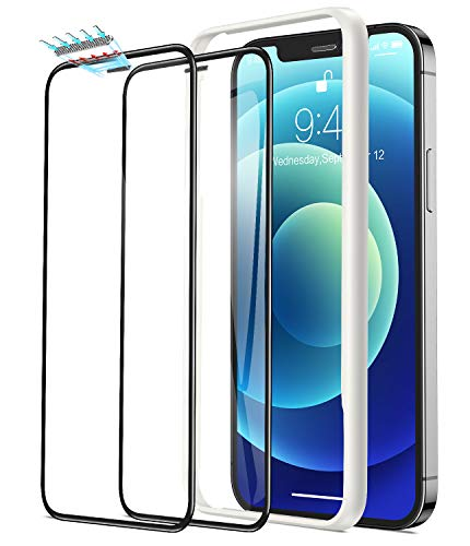 Humixx Tempered Glass Screen Protector Compatible with iPhone 12 iPhone 12 Pro, 2-Pack [3D Dust-Proof Meshes][2.5D Edge to Edge Full Protection][9H Hardness Anti-Shatter] Protective Film 6.1 Inch