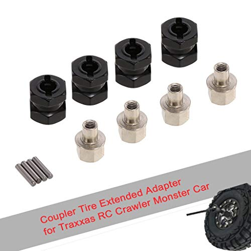 Xisheep??Shipped from the United State 4Pcs 12Mm He-X Coupler Tyre Extended Adapter for Red-Cat Tam-Iya Ax-Ial Rc Car - Play Vehicles (Black)