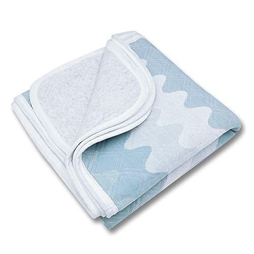 Blaue Kleinkinddecke Babydecke Kuscheldecke 75x100cm aus 100% Bio Baumwolle mit Welle Muster, Wolldecke Wohndecke Tagesdecke für Jungen und Mädchen, Hypoallergen warm atmungsaktiv und super weich