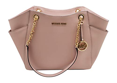 "Size Approximate Measurements: 12"" L x 10"" H x 5"" D Saffiano Leather, Color: Blossom Zip Top Closure, Hanging MK Medallion Dual Flat Chain Handles with 10"" Drop 2 Exterior Side Slip Pockets, Interior Zip and 2 Slip Pockets"