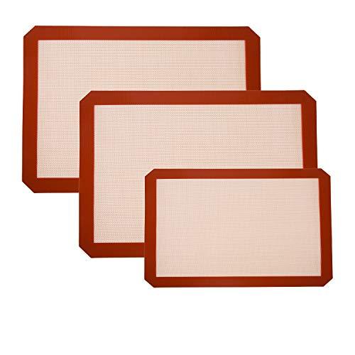 HONGXIN-SHOP Tapete de Silicona para Hornear Bandejas de Cocina Reutilizables Antiadherentes Antideslizantes Lavable Sin BPA Silicona Estera para Macarrón Pastelería Galleta Pan Hacer 3 Pieza Rojo
