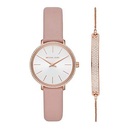 MICHAEL KORS Mini Pyper Rose Gold-Tone Uhr und Slider Armband Set für Frauen MK2888