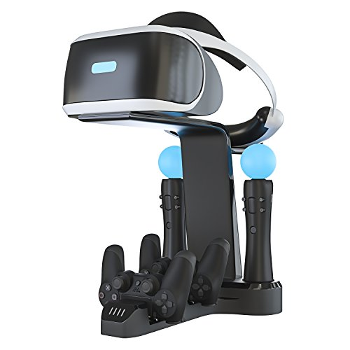 Skywin Playstation VR Charging Stand - PSVR Charging Stand to Showcase, Display, and Charge Your PS4 VR (PS4 Controller)