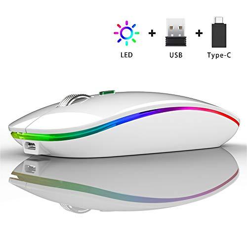 Ratón Inalámbrico Recargable, Ultra Delgado Receptor Nano Wireless Mouse 1600 dpi Ajustables Silencioso Mini Mouse Multicolor LED para Computadora Portátil, PC, Portátil, Macbook (Blanco)