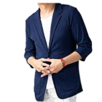 ジェネレス ジャケット 夏 カジュアル サマージャケット テーラードジャケット 7分袖 メンズ テレコ・ネイビー LL