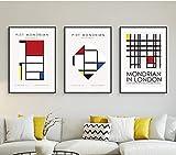 FANYUEART 3 Piezas Piet Cornelies Mondrian Lienzo Abstracto Pintura Carteles e Impresiones Lienzo Arte de Pared Cuadros de Pared decoración del hogar 30x42cm 12'x17' (sin Marco)