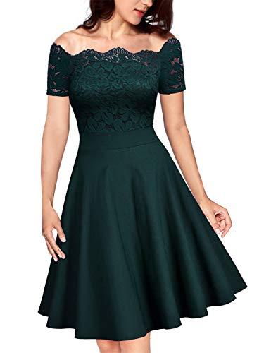 KOJOOIN Damen Vintage 1950er Spitzen Cocktailkleid Brautjungfernkleider für Hochzeit Kurze Abendkleider Dunkelgrün (Off Schulter) XXL/48