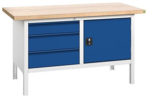 bott verso+ Kastenwerkbank mit 3 Schubladen und 1 Tür, 40 mm Rotbuche-Arbeitsplatte, 1500 x 750 x 840 mm, 1 Stück, 41021004.11