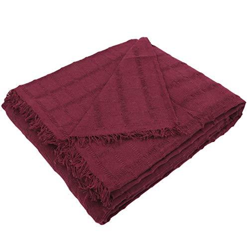 MERCURY TEXTIL- Colcha Multiusos Sofa,Manta Foulard,Plaid para Cama,Cubresofa Cubrecama,jarapas,Comoda Practica y Suave. Poliester Algodón (230 x 260cm, Liso Granate)