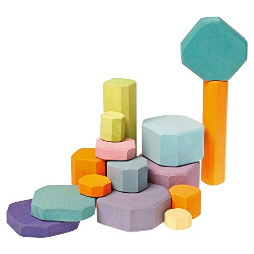 Grimm's Tree Slices - First Wooden Building Blocks Set for Baby & Toddler in Pastel Colors