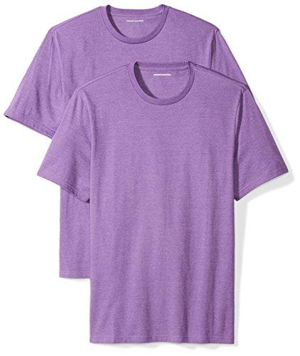 Amazon Essentials 2-Pack Short-Sleeve Crewneck T-Shirt Camiseta, Morado (Purple Heather), Medium