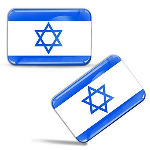 Biomar Labs® 2 x Aufkleber 3D Gel Silikon Stickers Israelische Flagge Nationalflagge Israel Juden Fahne Davidstern Judisch Flag Auto Motorrad Fahrrad Fenster Tür PC Tablet Laptop F 78