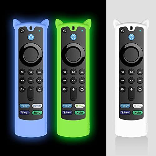 AIYAAIYA 3 PCS Funda Protectora para Alexa Voice Remote (3rd Gen)2021,Estuche de Silicona a Prueba de Golpes para Fire TV Stick 4K mando a distancia con Cuerda Antipérdida(Glow Azul+Glow Verde+Blanco)
