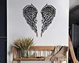 Angel Wings Metal Wall Art, 100% Metal 2D, Sculpture, Large and Wide - Wall Hanging for Living Room, Bedroom, Dorm, Gift for Her, Heart Shap (Black)
