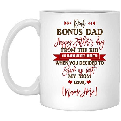 N\A Taza de café Personalizada Dear Bonus Dad Feliz día del Padre de The Kid inadvertidamente heredada - Jarra de Cerveza, Talla única. Jarra de Cerveza/Blanco