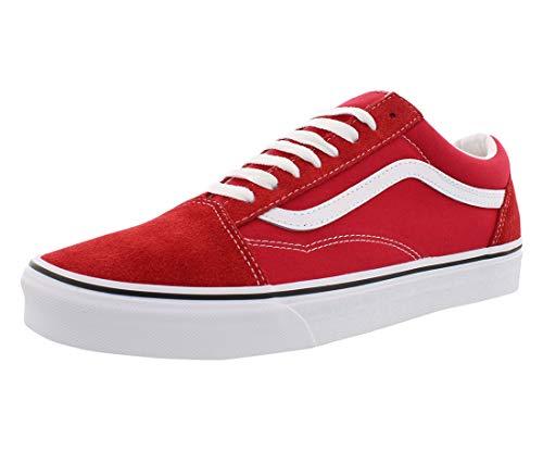 Vans Unisex Old Skool Skateboarding Shoes, Racing Red True White, 10 Women/8.5 Men