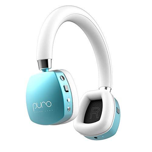 Puro Sound Labs PuroQuiet On-Ear-Kopfhörer mit aktiver Geräuschunterdrückung für Kinder/Jugendliche/Kinder Drahtlose Bluetooth-Kopfhörer mit Lautstärkebegrenzung, Blaugrün