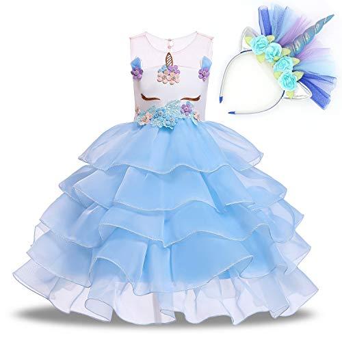 NNDOLL Mädchen Einhorn Rüschen Blumen Party Cosplay Kleid Brautkleid Princess hellblau 120 4 5 Jahre