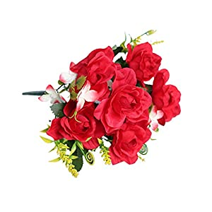 Artificial Flower for Party Home Decoration-1Pc Artificial Gardenia Decorative Lifelike Faux Silk Flower DIY Fake Floral Simulation for Home – Red