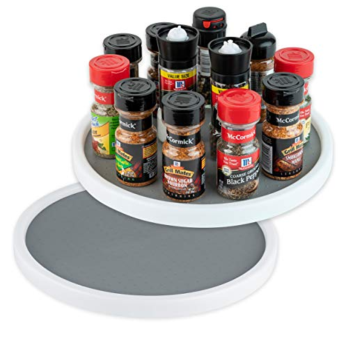 Homeries Lazy Susan Turntable 12 Inches - Single Round Rotating Kitchen Spice Organizer for Cabinets Pantry Bathroom Refrigerator - Non-Skid Surface Rimmed Edge 2 Pack