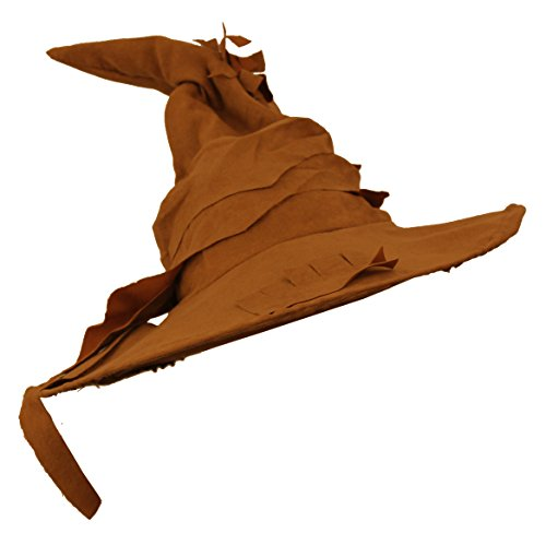 Wizard HAT Fancy Dress Accessory Brown Suede Feel Pointed Witches HAT Book Film Character