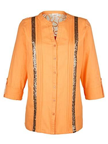 Paola Damen Bluse mit 3/4-Ärmel in Orange aus Baumwolle mit Paillettenzier