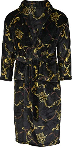 Urban Classics Herren Morgenmantel Bathrobe Luxury mit edlem Print Bademantel, Schwarz (Black 00007), Large (Herstellergröße: One Size)