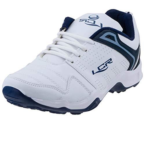 Lancer Men's White & Navy Blue Running Shoes - 8 UK