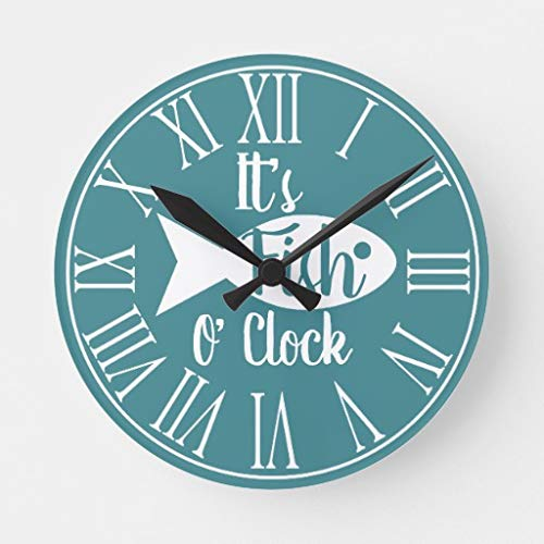 EnjoyHome Rustic Lake House Fish O Clock Fish Silhouette Country Decoration Wood Clock Silent Non-Ticking Battery Operated Wall Clock 14 inches