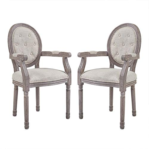 Modway Arise French Vintage Tufted Upholstered Fabric Two Dining Armchairs in Beige