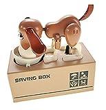 Little Dog Puggy Bank, My Dog Piggy Bank – Robótica Monedas Comer Munching Toy Caja de ahorro de dinero, Banco de monedas para perritos, hucha de perro (marrón y blanco)