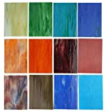 Lanyani 10 Sheets Variety Streaky Glass Packs 4 x 6 inch Cathedrals Stained Glass Sheets for Mosaic Tiles Crafts,Mixed Colors