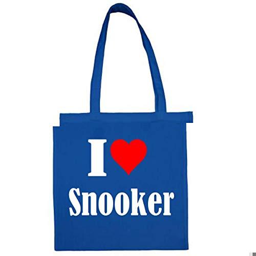 Tasche I Love Snooker Größe 38x42 Farbe Grau Druck Schwarz