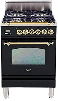 Ilve UPN60DVGGN Nostalgie Series 24 Inch Gas Convection Freestanding Range, 4 Sealed Brass Burners, 2.4 cu. ft. Total Oven Capacity in Glossy Black, Brass Trim (Natural Gas)
