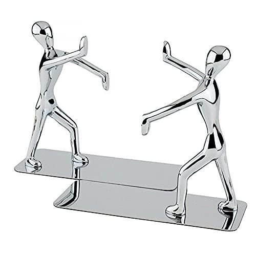 RUI - K25 1 par de desequilibraciones de Acero Inoxidable, Estilo de Kungfu Sookends Decorative Bookends Tabla Antideslizante, Adecuada para estanterías, escritorios, Oficina y Libros de hogar