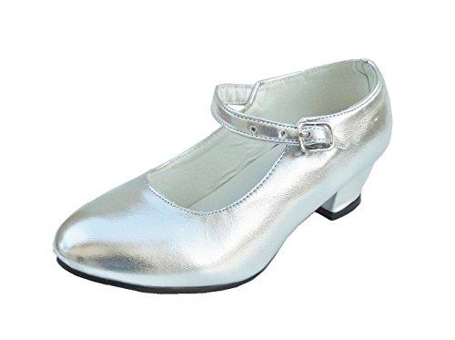 Cobo - Scarpe da ballo, per danza flamenco, colore: Oro o Argento, Argento (argento), 26 EU