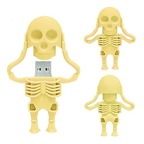 Memoria USB de 32 GB, Memory Stick en Forma de Esqueleto de Dibujos Animados, BorlterClamp Unidad de Memoria USB Cool Drive Pen, Regalos Increíbles, Amarillo