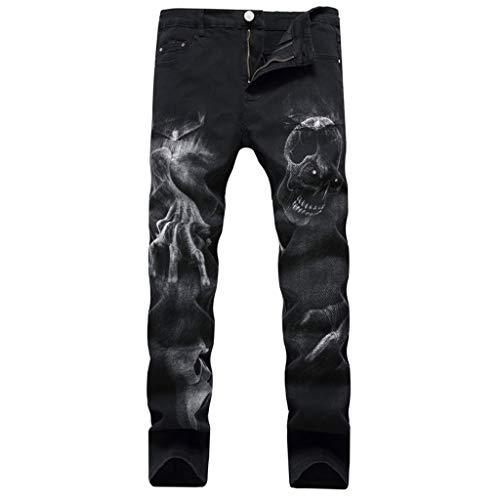 Subfamily Vaqueros Elásticos de Corte Slim Estampados para Hombre, Moda 3D Personalidad Slim Color Print Stretch Denim Pantalones Negro 30