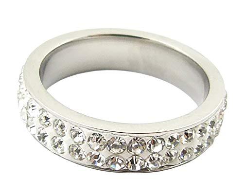 Damen Finger Ring mit Edelstein Besatz S2 Gr. 20