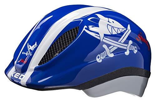 KED Meggy Originals S/M Sharky Blue - 49-55 cm - inkl. RennMaxe Sicherheitsband - Fahrradhelm Skaterhelm MTB BMX Kinder Jugendliche