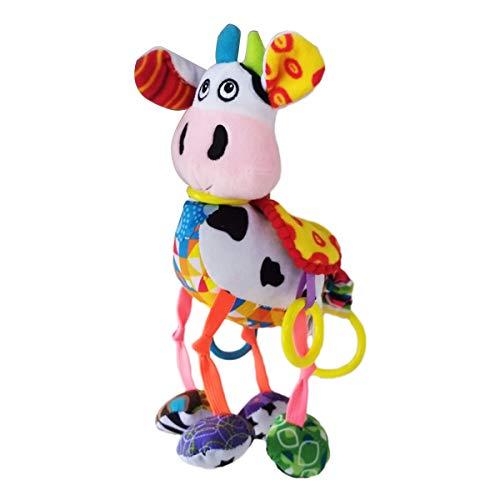 Mingfuxin Cochecito de peluche de juguete recién nacido para bebés y niños pequeños, anillos de sonajero, regalo de cumpleaños para asiento de coche, cochecito, cuna (vaca)