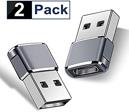 USB C Female to USB Male Adapter (2-Packs), Basesailor Type C to USB A Adapter, Compatible with Laptops, Power Banks, Chargers, and More Devices with Standard USB A Ports (Gray)